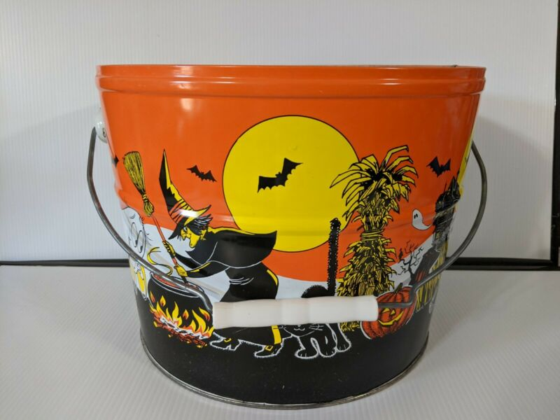 Vintage Halloween Metal BUCKET Witch Ghost Skeleton