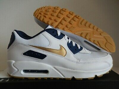 NIKE AIR MAX 90 ID WHITE-NAVY BLUE-GOLD USA OLYMPIC SZ 14 MESH TOE!