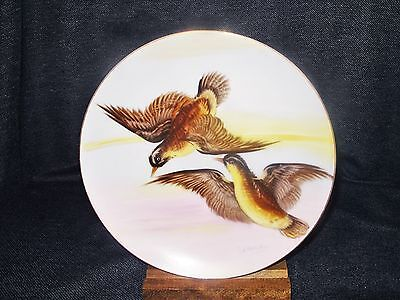 Rare VTG Hand Painted Artist Signed Birds in Flight Plate Hinode Occupied Japan