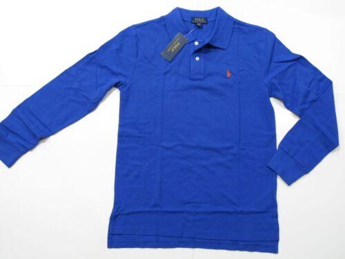 New with tag NWT Boys Ralph Lauren Barclay Blue Long Sleeve Polo Shirt M L XL