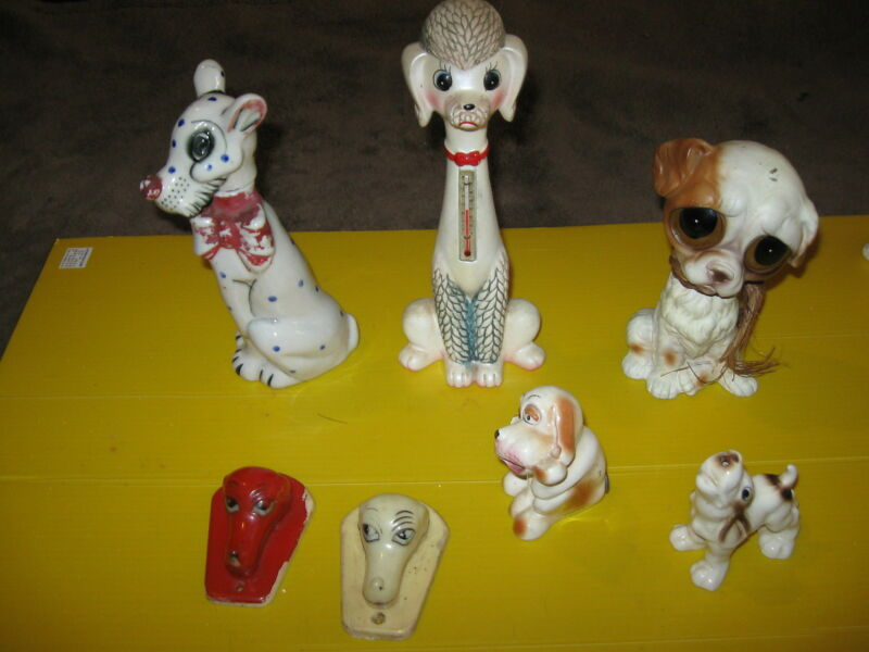 7 Fabulous Vintage Dog Figurines Large & Small - Thermometer, Scotch Decanter+++