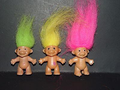 3 Troll Puppen 3.8cm Unmarkiert Bleistift Topper Bingo Good Luck