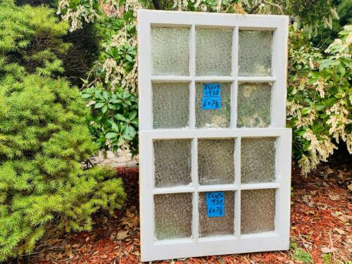2 Vintage Antique Rare 6 pane Window sash 24 x 20 Privacy Glass from 1938