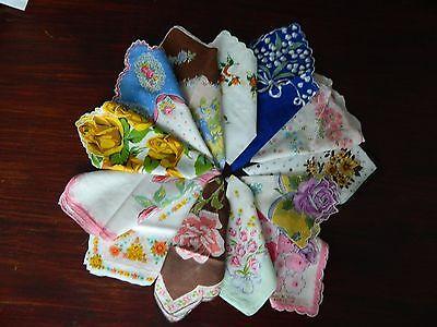 Lot #7 for 13 Beautiful vintage floral hankies Handkerchiefs Bright Bold Colors