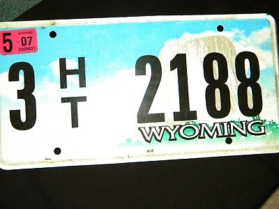 Used Wyoming HT License PlateCrafts Birdhouses or use on Vehicle Y2007