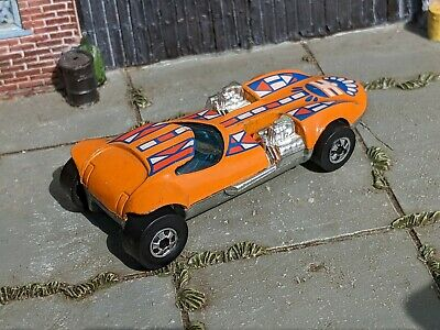 Hot Wheels Flying Colors Twin Mill Orange Blackwall With Indian Pattern Nice Car