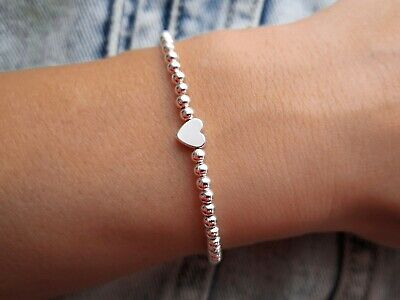 Silber Herz Armband ♥ Infinity filigranes Perlenarmband Partner Geschenk Liebe