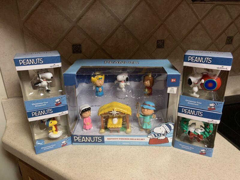 New Peanuts Nativity Figures Deluxe Set & 4 Hallmark Ornaments