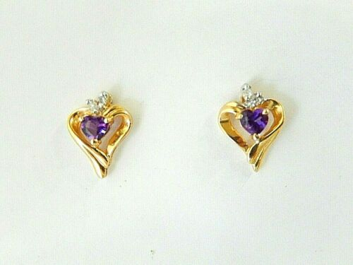 *NWT* 14K Yellow Gold Heart Shaped Post Earrings With Amethyst & Diamonds