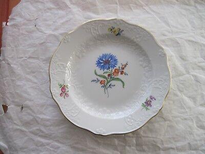 Antique Meissen Floral Bouquet  Embossed  Plate