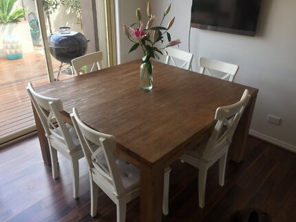Square brushed timber dining table and 6 dining chairs