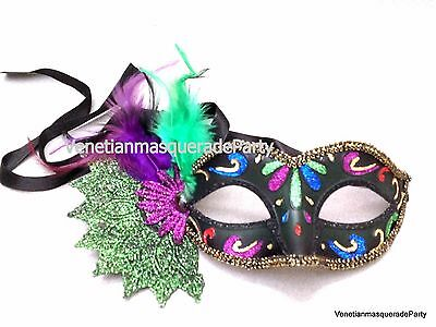 Mardi Gras Girl Costume (Leaves feather Costume Party Dress up Girls Mardi Gras Masquerade Ball Prom)