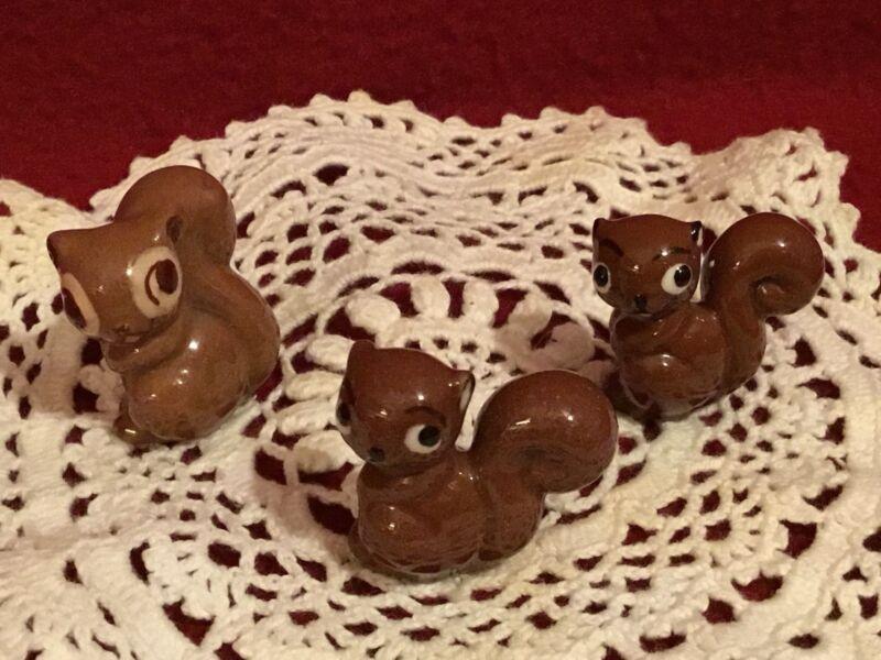 Vintage Early Hagen RenakerBrown Squirrels (3) Figurines