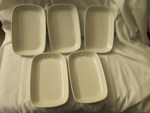 (5) vintage Frontier Airlines WESSCO First Class Meal Dishes Plates Japan