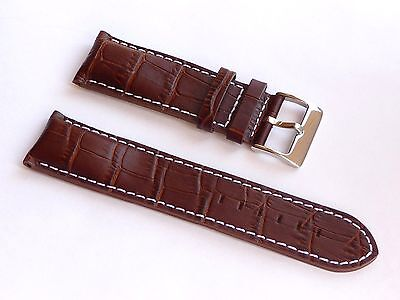 High Quality Lug 22mm Brown Genuine Leather Alligator Strap For Guess Men's