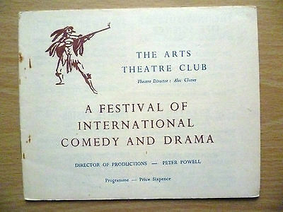 1940s Arts Theatre Club Programme: A FESTIVAL OF INTERNATIONAL COMEDY AND DRAMA