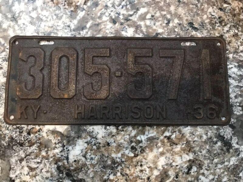 1936 Kentucky License Plate 305 571