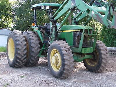 1997 John Deere 7210 Diesel 4wd W Dual Whls 740 Loader Forks Bucket 3k Hr