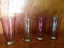 Gorgeous Vintage Coloured Harlequin Gold Rimmed Cordial Glasses Kempsey Kempsey Area Preview