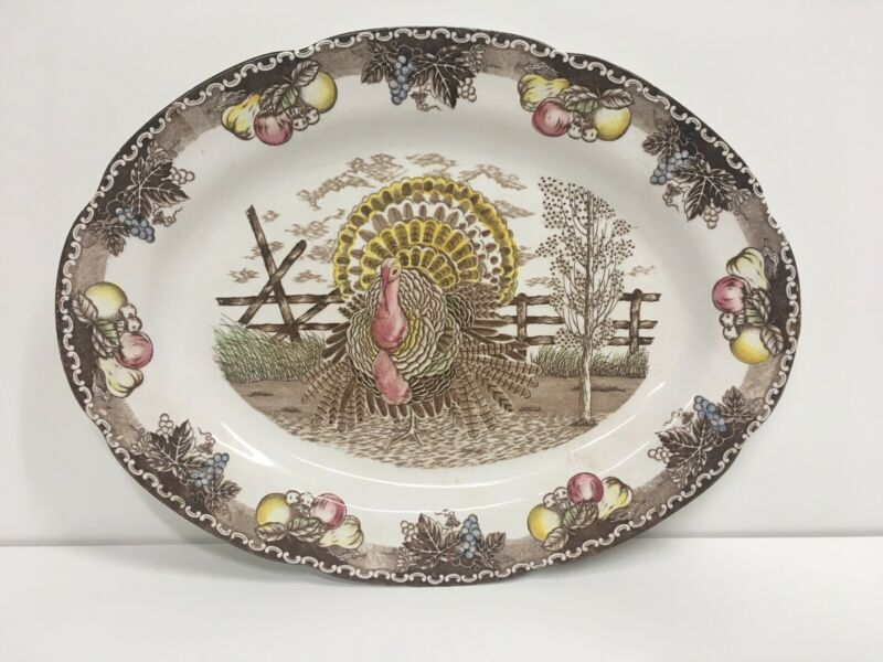 King Tom Turkey Thanksgiving Fall Platter Hand Decorated 19""