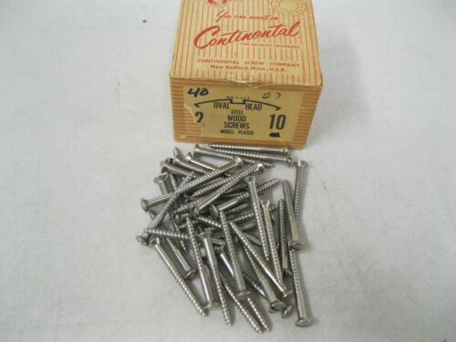 "40 VINTAGE HOLTITE CONTINENTAL 2"" ROUND HEAD NICKEL WOOD SCREWS~MADE IN USA"