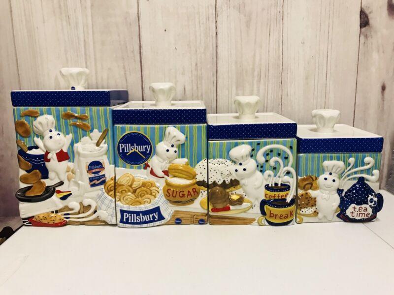 Pillsbury Doughboy Danbury Mint Ceramic Canister Set Flour Sugar Tea Coffee