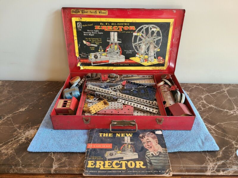 ~ Vintage 8 1/2 All Electric Erector Set Ferris Wheel 1935 Red Case Construction