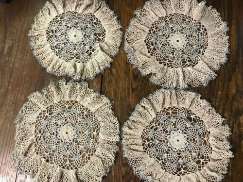 Beautiful Vintage Lot of 4 Hand Crocheted Ruffled Doilies Ecru & Blue (lot 24)