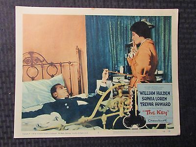 "1958 THE KEY Original 14x11"" Lobby Card #3 VG+ 4.5 William Holden, Sophia Loren"