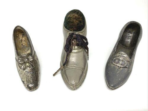 Lot of 3 Vintage Antique Metal Shoe Pin Cushions