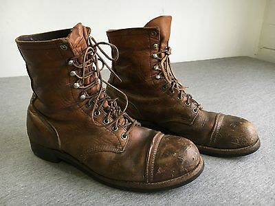RED WING Boots Vintage Brown Leather Iron Ranger Steel Cap Toe ...