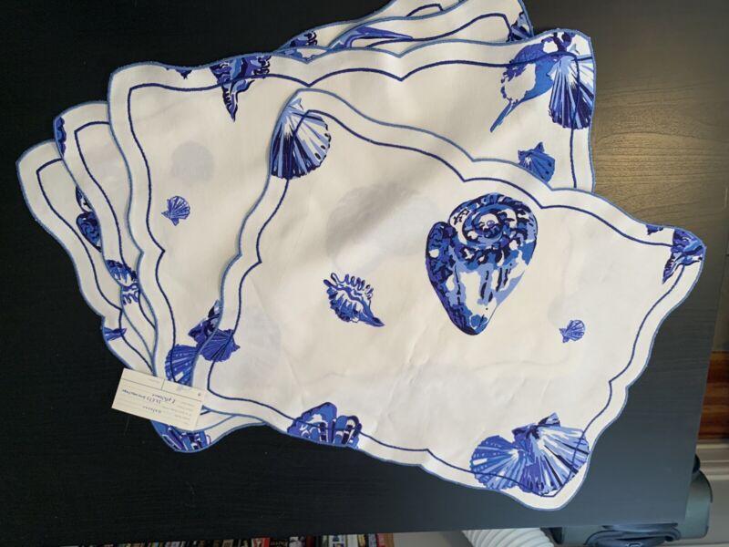 Vintage D. PORTHAULT 4 Placemats Flax Linen  Blue Large Shellfish Design
