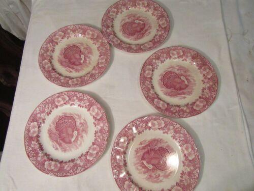 Set of 5 Wedgwood Turkey Dinner Plates, Made in England, Vintage, 11