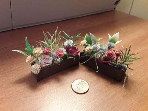 Dollhouse Flower Box, handmade, wood, set of 2, brown window box,