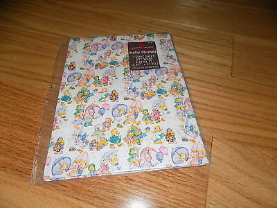 VINTAGE ADORABLE BABY SHOWER WRAPPING PAPER American Greetings NEW - Baby Shower Wrapping Paper