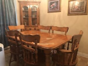 Solid Wood Table 6 Chairs Corner China Cabinet