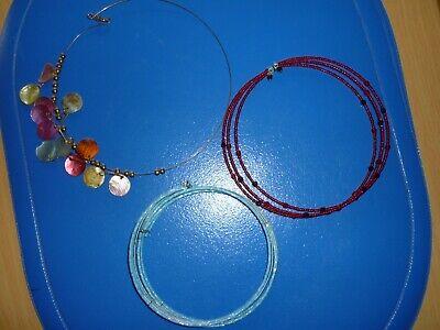 Modeschmuck Halskette blau und rot 3 tlg. ()