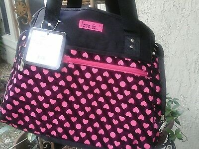 Diaper Bag Love Is Baby Girl Black Pink Heart Tote Shoulder Style for sale  Shipping to Canada