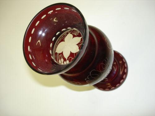 Vase Vintage Bohemian Czech  Republic Egermann With Sticker 8 1/4 tall A1