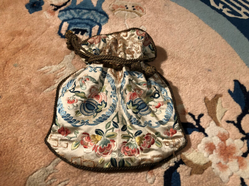 Antique Chinese Silk Embroidered Scent Purse Peking Knot Flowers & Fruit 19Th C.