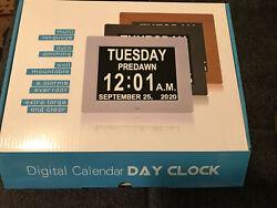 Memory Loss Digital Calendar Day Clock-White-Open Box-LED