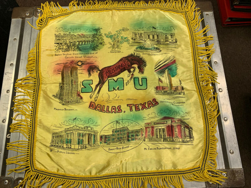 Vintage 1940's SMU Dallas Texas Satin Fringe Souvenir Pillow Case