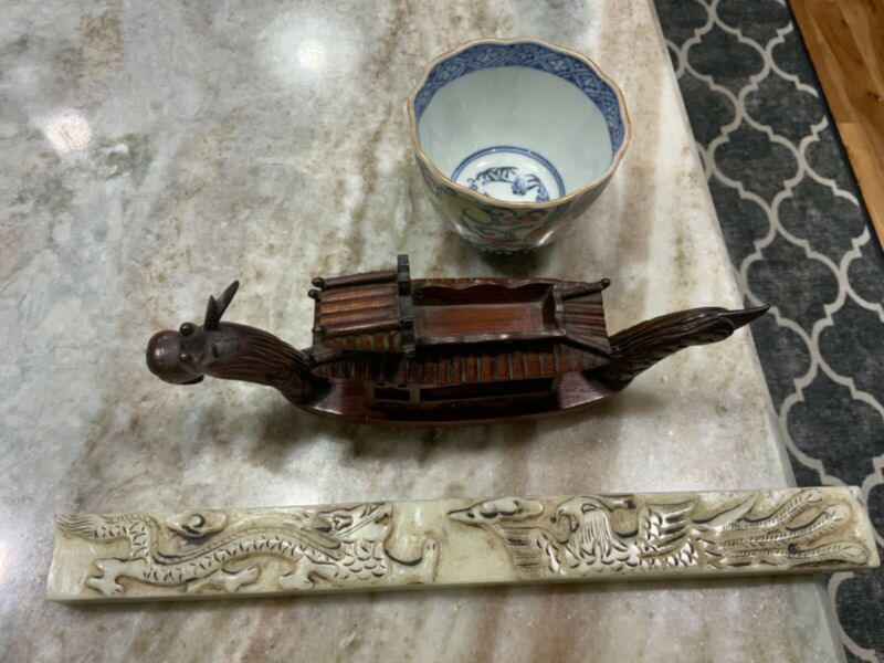 3 pieces Chinese ? Marble carving, wood dragon, porcelain cup