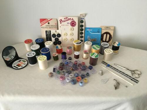 Vintage Sewing Supplies Mixed Lot Thread Bobbins Needles Scissors Notions