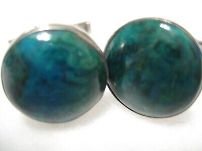 Sterling Silver Men's Cuff Links with Green Stone