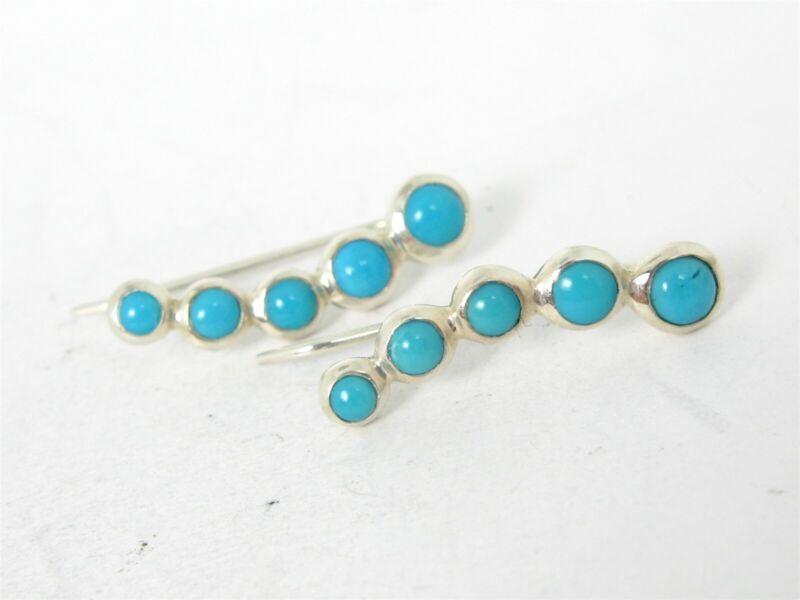Estate Sterling Silver Natural Turquoise Waterfall Ladies Earrings 2.2g B43