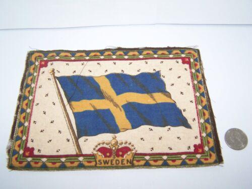 """c.1915 SWEDEN FLAG FLANNEL CIGARETTE PACK TOBACCO FELT ANTIQUE 8.25"""" x 5.75"""""""
