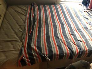 Queen size bed with sliding door headboard