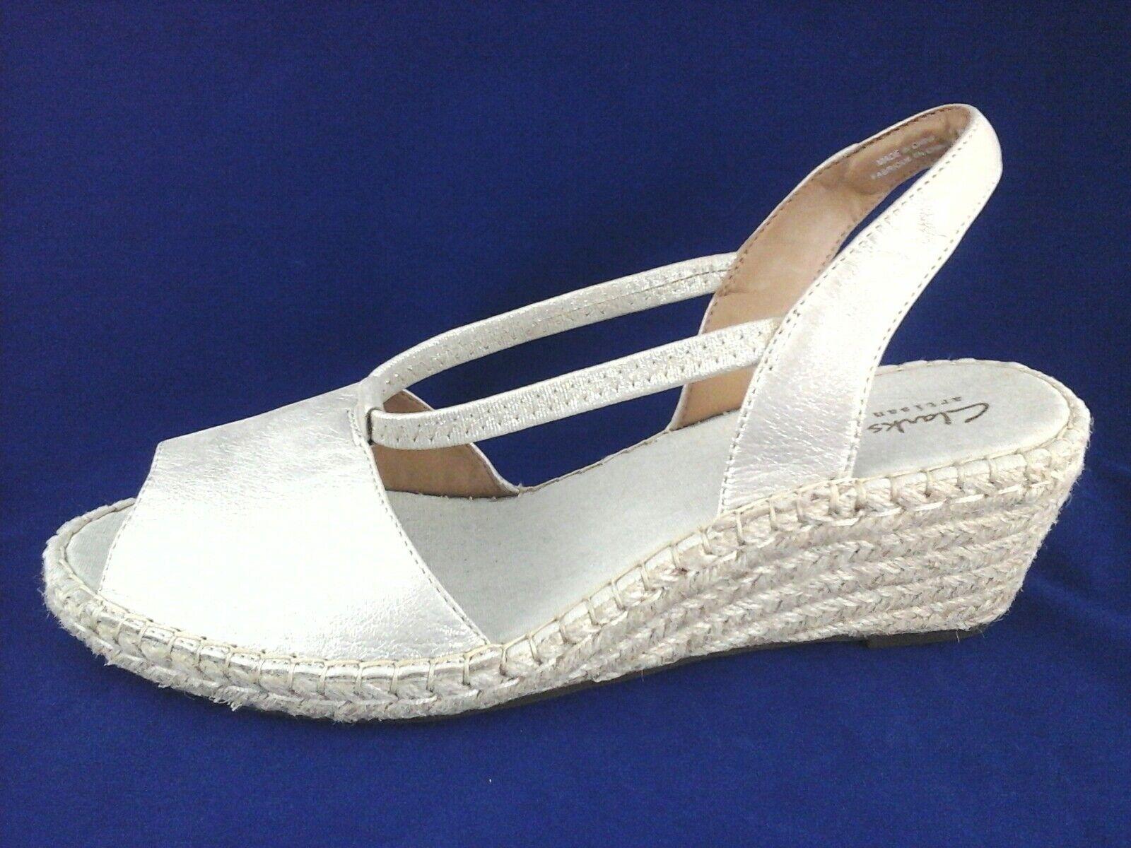 18032a39398 CLARKS Sandals Espadrilles Gold PETRINA LULU Wedge Slip On Womens US ...
