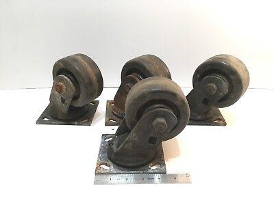 4 Vintage Heavy Duty Caster Wheels Coffee Table Unique